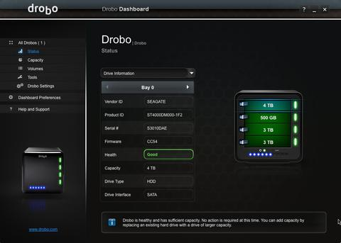 Drobo after first 4T drive installed