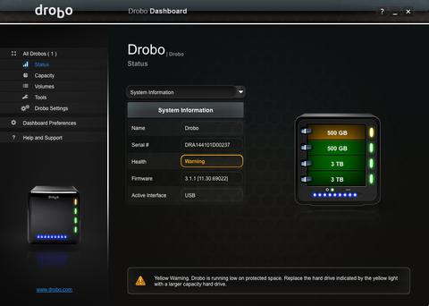 Drobo with 500 gig warning